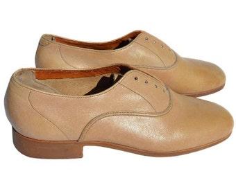 Vintage Florsheim women shoes beige genuine leather Vibram sole Morgan 2