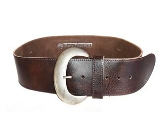 Vintage Red Temple leather belt brown
