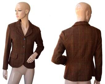 Vintage Scapa of Scotland women blazer brown checket