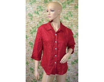Vintage Jacqueline Riu women shirt blouse red linen pearl buttons