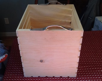 "Deep wooden crate, deep wooden storage crate. Wooden storage crate for children's toys. Outside measurements are 13 1/4""x11 1/2""x12"""