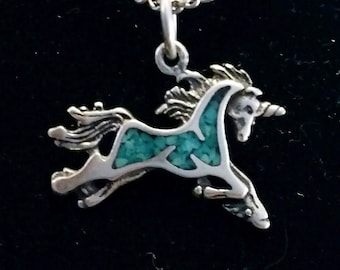 Unicorn Turquoise 1' inch Sterling Silver with 26' inch chain
