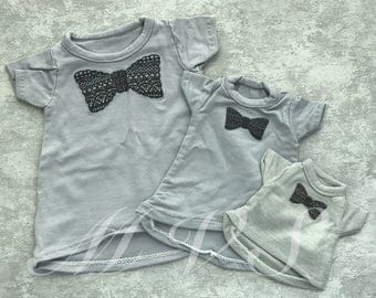 BJD clothes bowknot gray T-shirt for BJD,in 3size