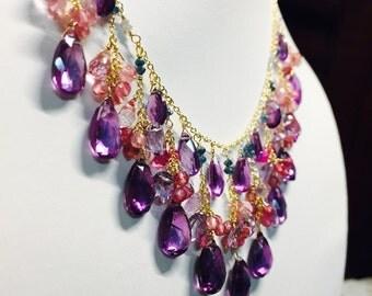 Alexandrite Topaz , Raw blue diamond, Pink Topaz, Blue Topaz, Pink Tourmaline,Gold Sterling silver.