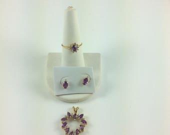 14k gold diamond and amethyst set; ring,earrings & pendant 6.1 gms