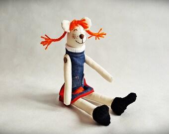 Cute Pippi Bear handmade toy