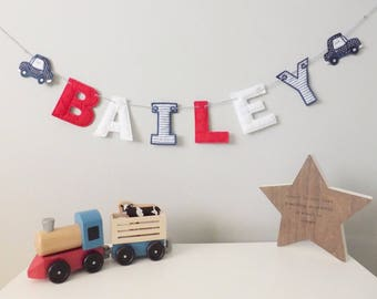 Personalised Bunting, Name Bunting, Letter Banner, Custom Nursery Decor, Children's Bedroom Decoration, Party Banner, Transport Car Garland