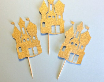 Fairy Tale Party Cupcake Toppers, Princess Party Cupcake Toppers, Castle Cupcake Toppers, Princess Party Picks, Castle Cupcake Picks