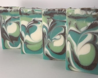 Spearmint and Eucalyptus Handcrafted Soap with Organic Cocoa Butter