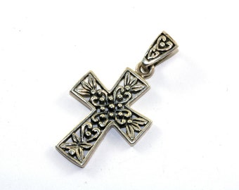 Vintage Marsala Jewelry Cross Floral Design Pendant 925 Sterling Silver PD 739