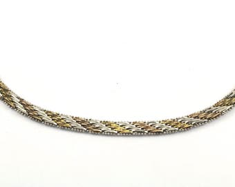 Vintage Three Tone Herringbone Style Chain Necklace 925 Sterling Silver NC 777