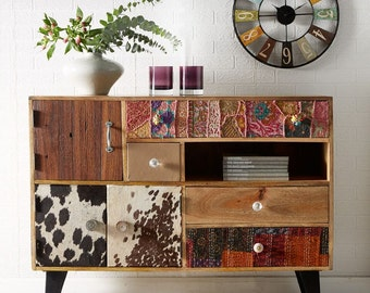 Sorio handcrafted funky wooden large sideboard - 3 door 4 drawers - Eco friendly
