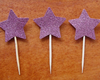 Purple Glitter Cupcake Toppers (12ct) Birthday/Anniversary/Bridal/Wedding