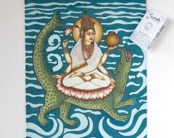 Indian Goddess Painting, Goddess Wall Art, Ganga Print, Yoga Decor, Spiritual India Print, Indian Goddess Home Decor,Hindu Goddess,36 x 50cm