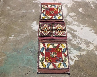 "Heybe Carpet,Turkish Area Woven saddlebag,Turkish Heybe,Carpet Heybe,4,7""x1,7"" Feet 141x48 Cm"