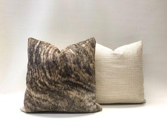 Dark Brindle Hair on Hide Leather Throw Pillow