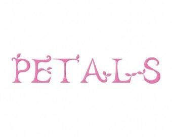 Petals Font Embroidery Font Set Instant Digital download