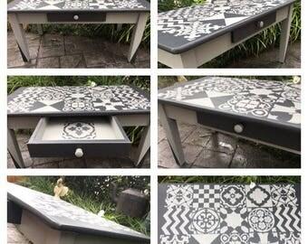 Unique Faux Tile Stencilled Coffee Table