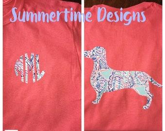Lilly Inspired -Dachshund Monogrammed Short Sleeve shirt-t- shirt