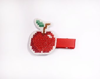 Cross Stitched Red Apple Hair Clip, Apple Hair Clip for Babies, Apple Hair Accessories, Girls Hair Clips Apple, Hand Embroided Hair Clip