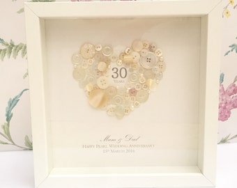 30th Wedding Anniversary Gift Ideas For Friends : ... , Personalised 30th Pearl Wedding Anniversary Button Frame Gift