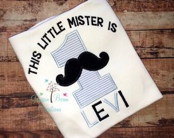 LIttle mister applique shirt, little mister is one birthday shirt, boys 1st birthday shirt, boys applique shirt, moustache applique shirt
