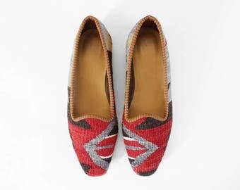 Handmade Kilim Shoes, Boho Shoes, Slipper Shoes, Moroccan Shoes, Leather Shoes, Ethnic Shoes, Ottoman Shoes, Espadrillas Shoes  US10 / EU42