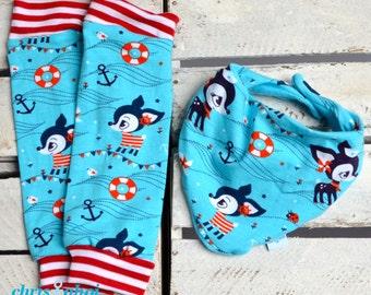 Set: Babylegs/baby legwarmers + anchor/deer scarf turquoise