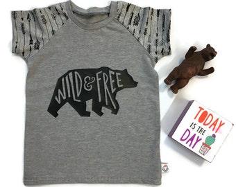 Wild & Free Arrow Print Raglan Shirt - 2T 3T - Custom Made