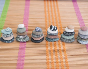 5 Tiny Sea Beach Stones - Altar Zen Meditation Yoga Cairn Balancing Sculpture Mood Small Stones Flat Beach Pebble Rock Art Decor Mindfulness