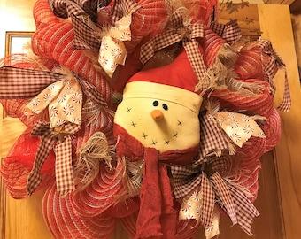 Old Fashion Snowman Deco Poly Mesh Wreath