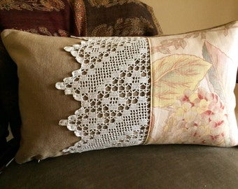 Handmade Vintage Inspired Cushion Cover, Gold Tones, Wide Vintage Lace