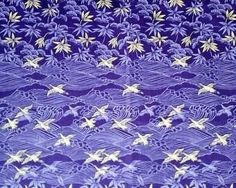 flying cranes Japanese fabric purple cotton fabric Purple Herons fabric cranes purple kimono fabric japanese