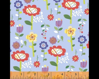 Spring flowers blue fabric patchwork patterned cloth cotton infant American fabric flowers blue fabric fabric fabric fabric fun