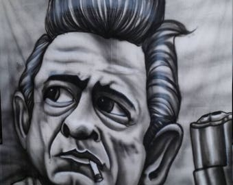 johnny cash portrait mural