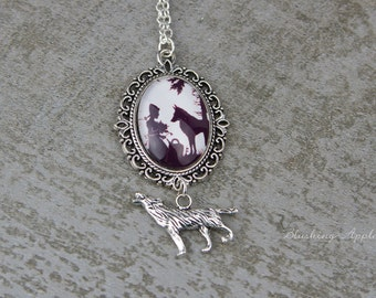 """Necklace """"Red Riding Hood"""" / Fairytales, black & white"""