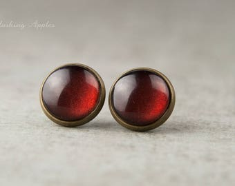 Burgundy - earrings, 12 mm earrings minimalist in Maroon / simple hand-painted earrings-