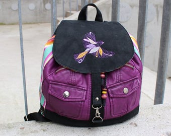 Backpack PARADISE BIRD, faux leather, cotton, Upcycling