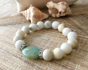 Quartz Bracelet, Amazonite Bracelet, Quartz Jewelry, Resort Jewelry, Boho Chic Bracelet, Beach Bracelet