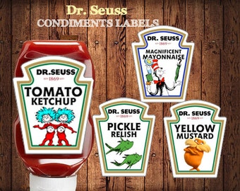 Dr. Seuss Condiment Labels , Cat in the Hat   Birthday