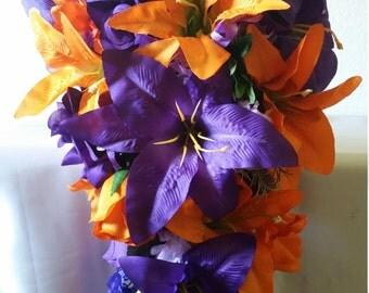 Purple Orange Rose Tiger Lily Cascading Bridal Wedding Bouquet & Boutonniere