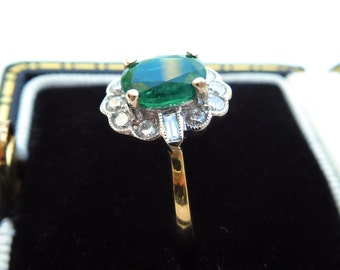 18ct, emerald & diamond ring, emerald and diamond cluster ring, art deco style emerald engagement ring, vintage style emerald ring