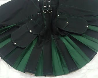 Black & Green Hybrid Cargo Pockets Fashion Kilt