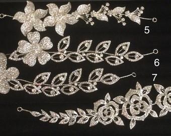 wedding hairpiece, bride hairpiece, rhinestones elastic hairpiece, butterfly, flower