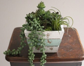 Artificial Succulent Arrangement Artificial Succulent Planter in Weathered Pot Rustic Artificial Succulent Arrangement