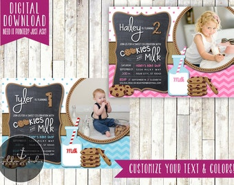 Milk & Cookies Birthday Invitation, Cookies and Milk Party Invitation, Cookie Invite, Photo - Printable DIY
