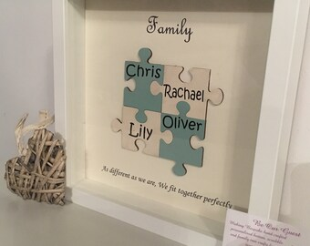 Personalised family jigsaw frame Mother's Day up to 6 names