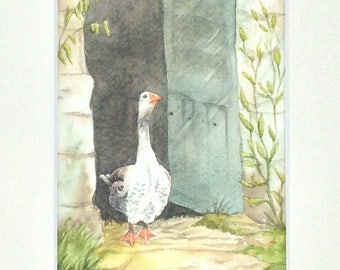 """Table watercolor """"a day in the country"""" the oie"""