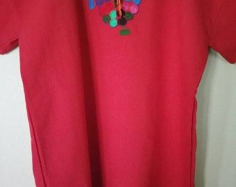Mexican Embroidered Handmade Red Blouse