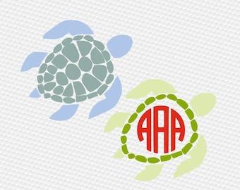 Sea turtle svg, Turtle svg, Sea svg, Sea life svg, Turtle silhouette, Sea turtle monogram svg, Cricut, Cameo, Cut file, Svg, DXF, Png, Eps